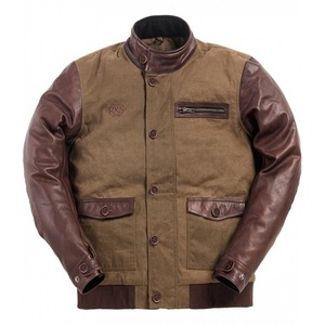 Ride & Sons Varsity Leather / Waxed Cotton Jacket - Brown 30%세일